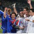 David Trezeguet, Bixente Lizarazu, Fabien Barthez, Laurent Blanc, Zinédine Zidane et Robert Pirès lors de l'Euro 2000.