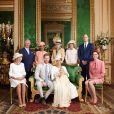 Baptême d'Archie Mountbatten-Windsor au château de Windsor, le 6 juillet 2019, en présence de ses parents le prince Harry et Meghan Markle, le prince Charles et son épouse Camilla, Doria Ragland (la mère de Meghan), Lady Jane Fellowes, Lady Sarah McCorquodale, le prince William et Kate Middleton.