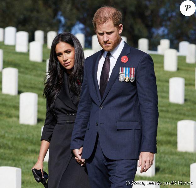 Le prince Harry et Meghan Markle au cimetière national de Los Angeles, automne 2020. Photo by Lee Morgan/PA Photos/ABACAPRESS.COM