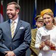 Le prince Guillaume de Luxembourg, la comtesse Stéphanie de Lannoy - Cérémonie de départ du roi Willem-Alexander des Pays-Bas et de la reine Maxima devant le palais Grand Ducale à Luxembourg le 25 mai 2018