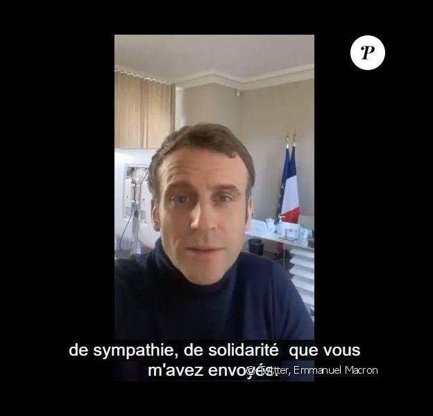 Après avoir été testé positif à la Covid-19, Emmanuel Macron s'est exprimé dans une vidéo publiée sur Twitter le 18 décembre 2020.