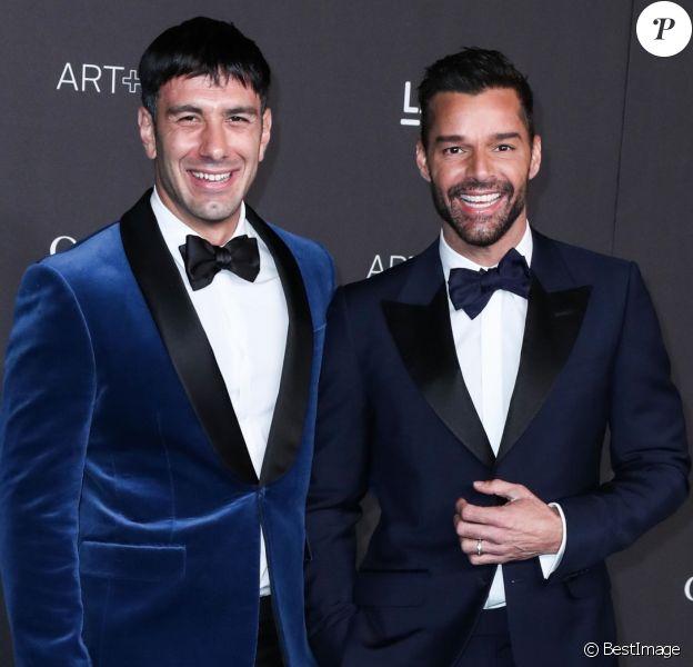 "Jwan Yosef et son mari Ricky Martin au photocall de la soirée ""LACMA Art + Film Gala"" au Los Angeles County Museum of Art. Los Angeles."