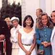 """Sophie Marceau, Brigitte Fossey, Claude Brasseur sur le tournage du film """"La Boom 2"""" en 1982."""