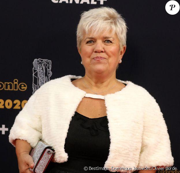 """Mimie Mathy - Tournage de la série """"Dix Pour Cent"""" lors de la 45ème cérémonie des César à la salle Pleyel à Paris, l'hiver dernier. © Dominique Jacovides/Olivier Borde/Bestimage"""