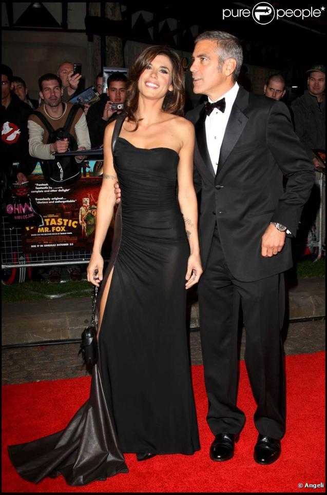 George Clooney et la superbe Elisabetta Canalis, à l'occasion de l'avant-première du  Fantastique Mr. Fox , dans le cadre du BFI London Film Festival, à l'Odeon Leicester Square de Londres, le 14 octobre 2009 !