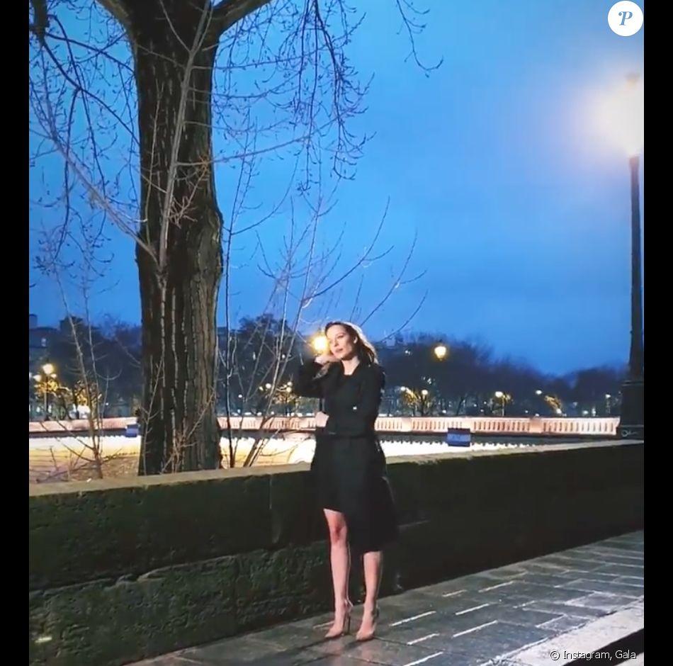 Ilona Smet et Kendji Girac en plein tournage du nouveau clip du chanteur, à Paris. Le 13 janvier 2020.