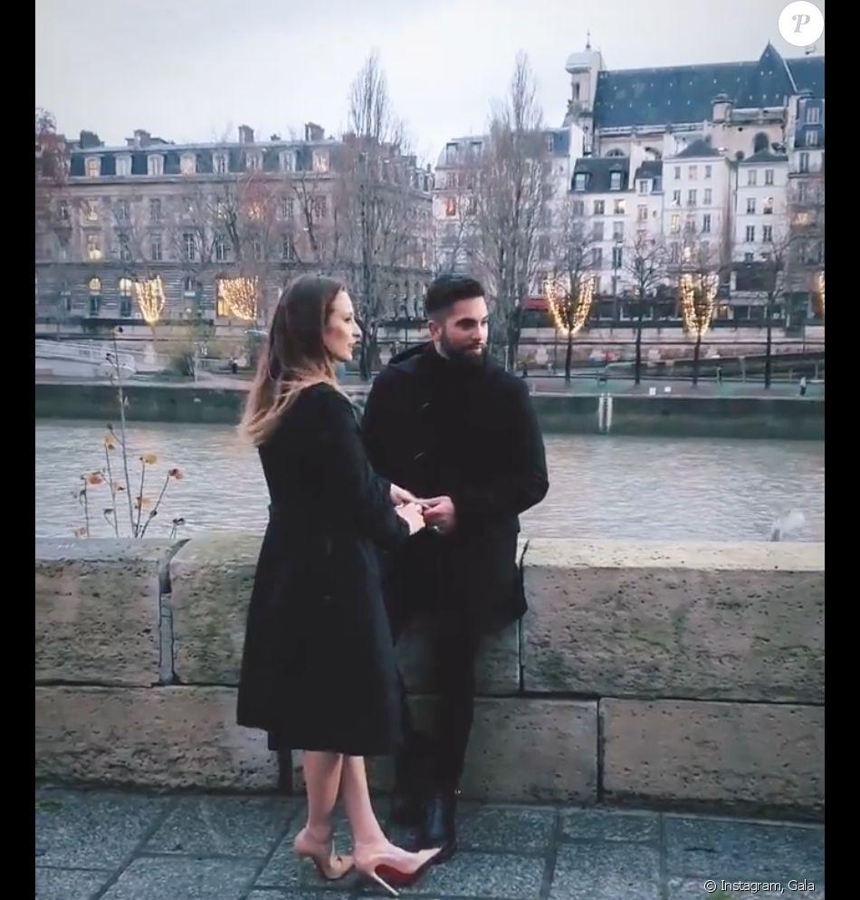 Ilona Smet et Kendji Girac en plein tournage du nouveau clip du chanteur, à Paris.