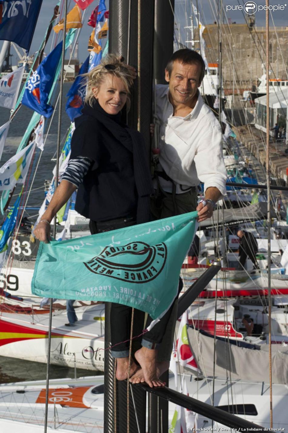 Sophie davant et laurent bignolas prennent la pose sur un m t d 39 environ 4 m tres de haut pour la - Laurent bignolas et son epouse ...