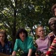 "Sadie Sink, Noah Schnapp, Millie Bobby Brown, Finn Wolfhard et Caleb MacLaughlin dans la série ""Stranger Things"", sur Netflix."