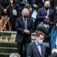 Marie-Claude Pietragalla, Leïla Da Rocha (compagne de Patrick Dupond), cercueil du défunt (avec le drapeau bleu blanc rouge) - Sorties des Obsèques du danseur étoile Patrick Dupond en l'église Saint-Roch à Paris, France, le 11 mars 2021.