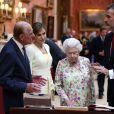 Le roi Felipe VI et la reine Letizia d'Espagne, la reine Elisabeth II d'Angleterre et le prince Philip, duc d'Edimbourg - Visite de la Galerie de la Reine au palais de Buckingham à Londres. Le 12 juillet 2017