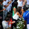 Jo-Wilfried Tsonga et sa compagne Noura - La France a remporté la demi-finale de la Coupe Davis face à la République tchèque à Roland Garros à Paris, le 13 septembre 2014. Jo-Wilfried Tsonga et Richard Gasquet ont gagné le double et obtiennent ainsi leur place pour la finale.