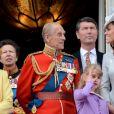"""Le prince Philip, duc d'Edimbourg, Catherine Kate Middleton , duchesse de Cambridge - La famille royale d'Angleterre assiste à la parade """"Trooping the colour"""" à Londres le 16 juin 2012."""