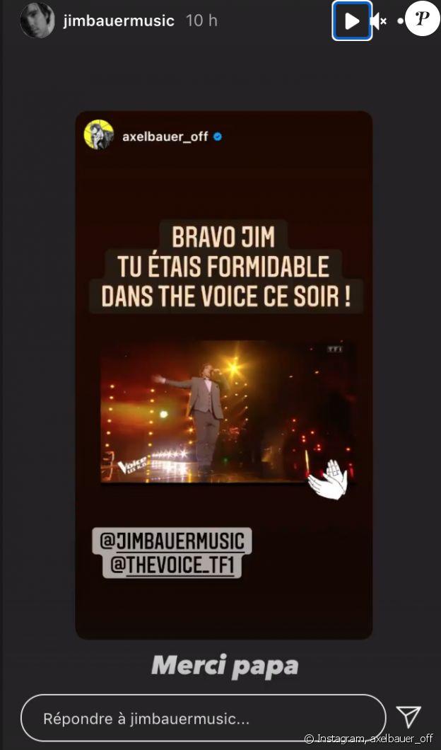 """Axel Bauer félicite son fils Jim pour sa prestation dans """"The Voice"""", le samedi 17 avril 2021."""
