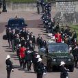 Le prince Charles, prince de Galles, la princesse Anne, le prince Andrew, duc d'York, le prince William, duc de Cambridge, David Armstrong-Jones, comte de Snowdon, Peter Phillips, la princesse Anne, le prince Edward, comte de Wessex, le prince Harry, duc de Sussex, Sir Timothy Laurence - Arrivées aux funérailles du prince Philip, duc d'Edimbourg à la chapelle Saint-Georges du château de Windsor, le 17 avril 2021.