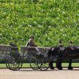 La calèche du prince Philip, duc d'Edimbourg, et ses deux chevaux Balmoral Nevis et Notlaw Storm - Arrivées aux funérailles du prince Philip, duc d'Edimbourg à la chapelle Saint-Georges du château de Windsor, le 17 avril 2021.
