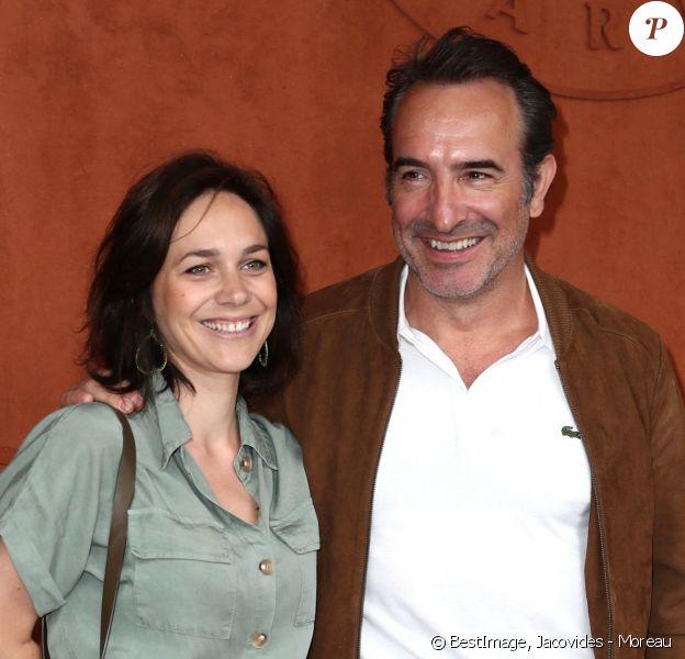 Jean Dujardin et sa femme Nathalie Péchalat à Roland Garros. © Jacovides - Moreau / Bestimage