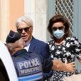 Bernard Tapie et sa femme Dominique Tapie - Mariage civil de Sophie Tapie et Jean-Mathieu Marinetti à la mairie de Saint-Tropez en présence de leurs parents et de la famille le 20 août 2020.