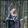 Kirstie Alley avec ses singes dans son jardin à Los Feliz