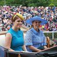 La princesse Eugenie d'York et la princesse Beatrice d'York - La famille royale britannique et les souverains néerlandais lors de la première journée des courses d'Ascot 2019, à Ascot, Royaume Uni, le 18 juin 2019.