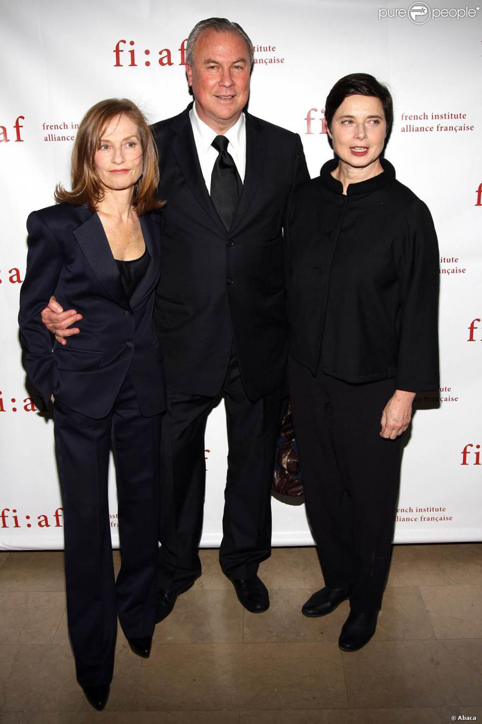 Isabelle Huppert, Robert Wilson et Isabella Rossellini, à l'occasion du gala du Trophée des Arts de la French Institute Alliance Française 2009,