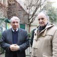 Gilbert et Jean-Christophe Mitterrand au square Danielle Mitterrand, au 20 rue de Bievre dans le 5eme arrondissement à Paris, le 6 janvier 2014.