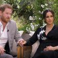 """La chaîne CBS a diffusé l'entretien intitulé """"Meghan & Harry"""" entre le prince Harry, Meghan Markle et la présentatrice américaine Oprah Winfrey, le 7 mars 2021."""