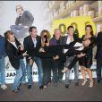 Jocelyn Quivrin, Jean Dujardin, Frédéric Beigbeder et l'équipe du film 99 francs en septembre 2007 à Paris