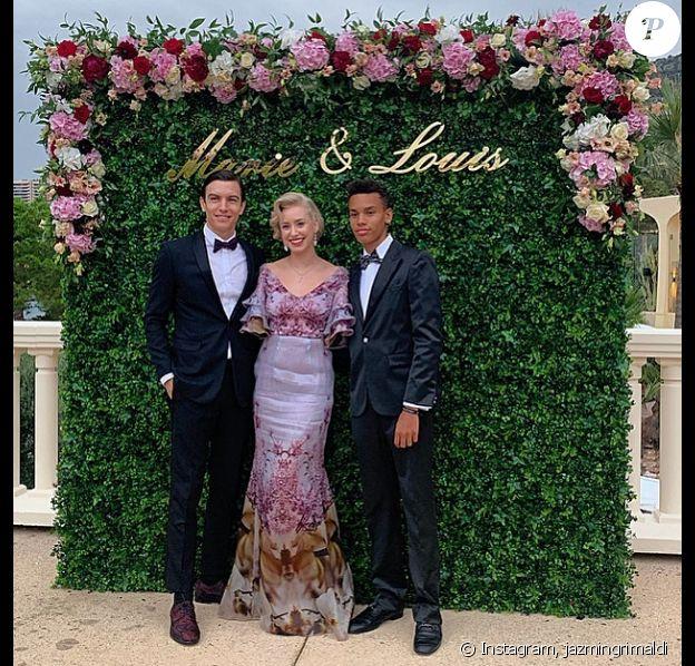 Jazmin Grace Grimaldi avec son petit ami Ian Mellencamp et son demi-frère Alexandre Coste, au mariage de son cousin Louis Ducruet. Les 26 et 27 juillet 2019.