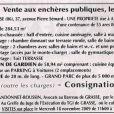 La vente aux enchères publiques le 26 novembre 2009 de l'ancienne propriété de Charles Trenet, La Carrière, à Antibes