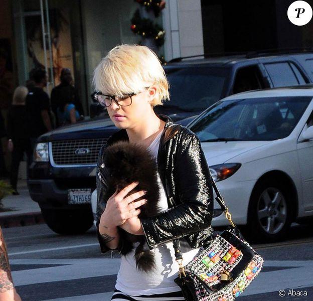 Kelly Osbourne fait du shopping avec un ami et une boule de poils noire à Los Angeles le 19 décembre 2009