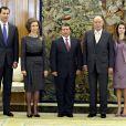 La famille royale espagnole a reçu le roi Abdullah II de Jordanie. Le 27 janvier 2010.