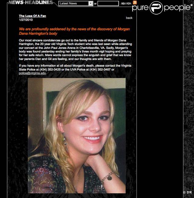 Morgan Harrington a disparu lors d'un concert de Metallica, le 17 octobre 2009 à Charlottesville, en Virginie !
