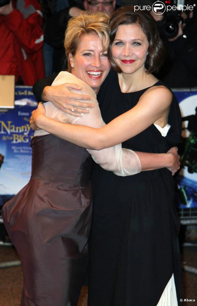 Emma Thompson et Maggie Gyllenhaal lors de la première à Londres le 24 mars de Nanny McPhee et le big bang