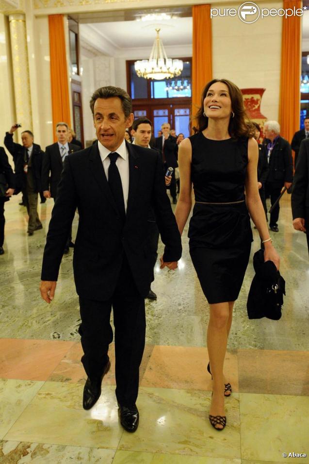 Le couple présidentiel français, Nicolas Sarkozy et Carla Bruni, à Pékin, en Chine. 28/04/2010