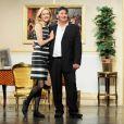 Alexandra Vandernoot et son époux Bernard Uzan lors de la répétition générale de la pièce Le Président, sa femme et Moi, au théâtre de L'Alhambra. 22/06/2010