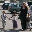 Angelina Jolie avec trois de ses enfants, Pax Thien, Zahara et Shiloh