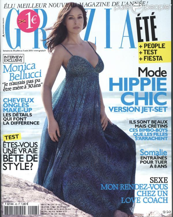 Monica Bellucci en couverture de  Grazia , 30 juillet 2010