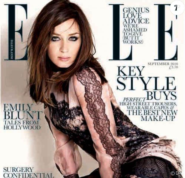 La magnifique Emily Blunt en couverture du numéro de septembre 2010 de l'édition britannique du magazine Elle.