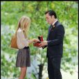 Clémence Poésy et Ed Westwick sur le tournage de Gossip Girl à Central Park à New York, le 10 août 2010