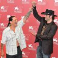 Danny Trejo et Robert Rodriguez, à l'occasion du photocall de  Machete , présenté à la Mostra de Venise, le 1er septembre 2010.