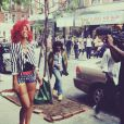 Rihanna, en plein tournage de What's my name, à New York