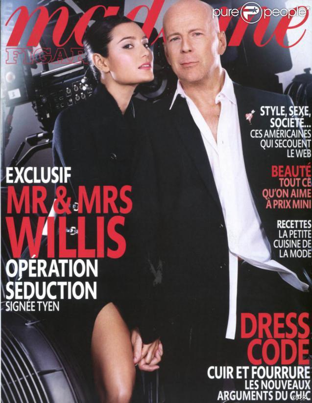 Bruce Willis et Emma Heming en couverture de Madame Figaro