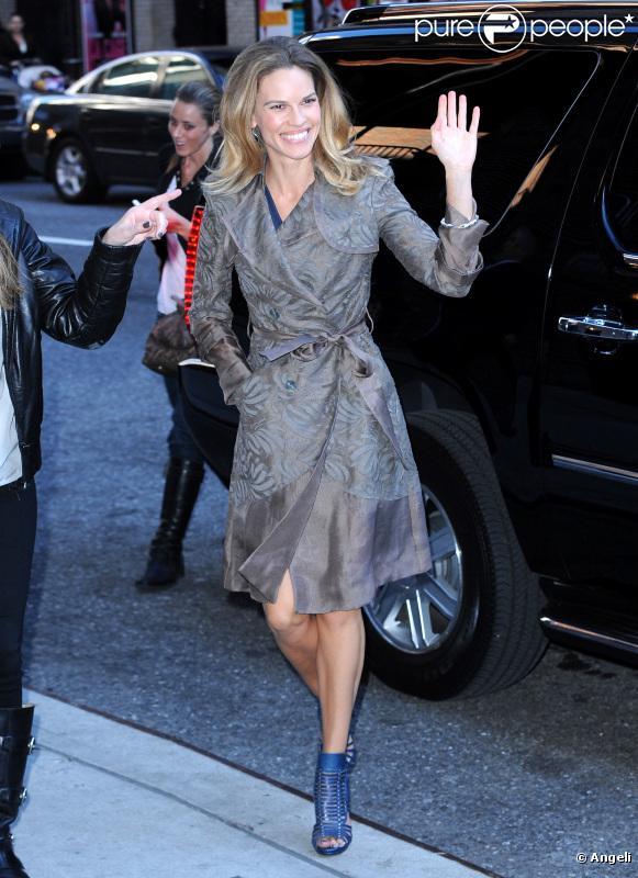 Hilary Swank à son arrivée au show de David Letterman le 13 octobre 2010
