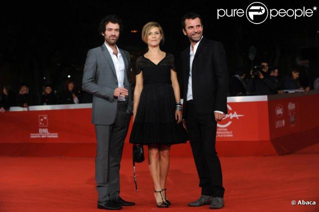 Romain Duris, Marina Foïs et Eric Lartigau durant le tapis rouge pour l'avant-première du film L'homme qui voulait  vivre sa vie lors du 5e Festival International du Film de Rome le 4  novembre 2010