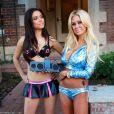 Shauna Sand et Anna Garcia, sur le tournage de leur clip  Everybody wants to be a porn star , le 9 octobre 2010.