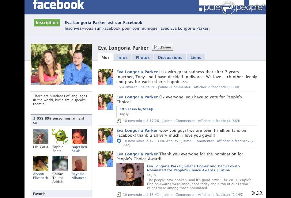 Capture d 39 cran de la page facebook de eva longoria for Capture d42cran