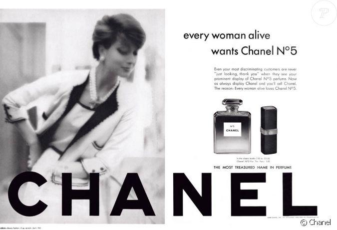 chanel n 5 campagne de 1961 la femme chanel est bien install e toutes les femmes en vie. Black Bedroom Furniture Sets. Home Design Ideas
