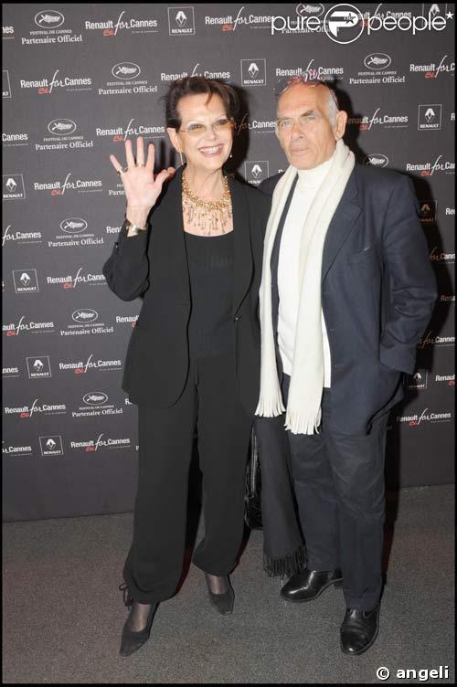 Caludia Cardinale et son mari  Pascal Squitieri à la soirée 'Before' Cannes à l'atelier Renault, le 17/04/08