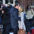 Sarah Jessica Parker et Greg Kinnear sur le tournage de I Don't Know How She Does It, à Brooklyn le 22 février 2011